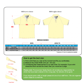 SS2015 Mens Polo Shirts Size chart