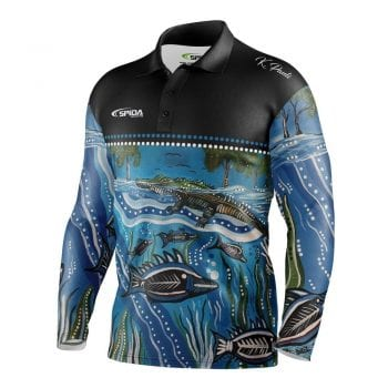 Aboriginal-Barramundi-Breeding-Fishing-Shirts-front