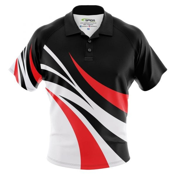 Linkin-Sublimated-Polos-Red-Black-Gray-Front