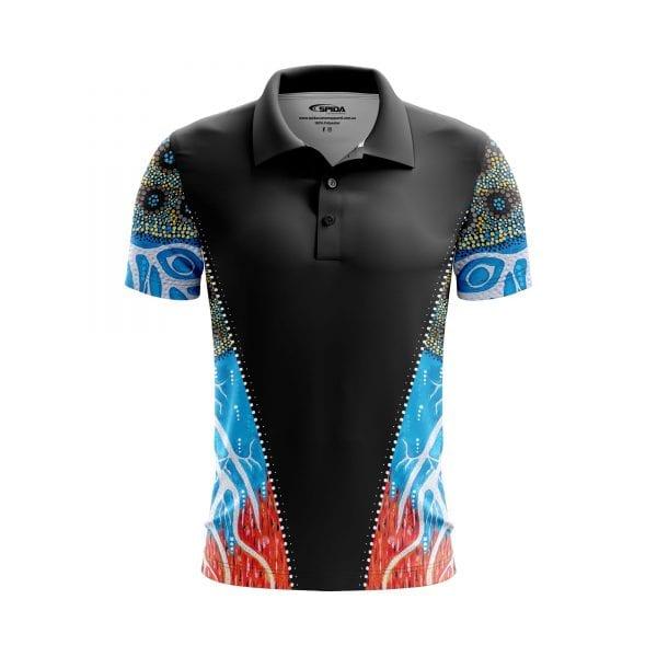 Fire-&-Lightning-Aboriginal-Polo-Shirts-Front-3D-Sandy-Lizard