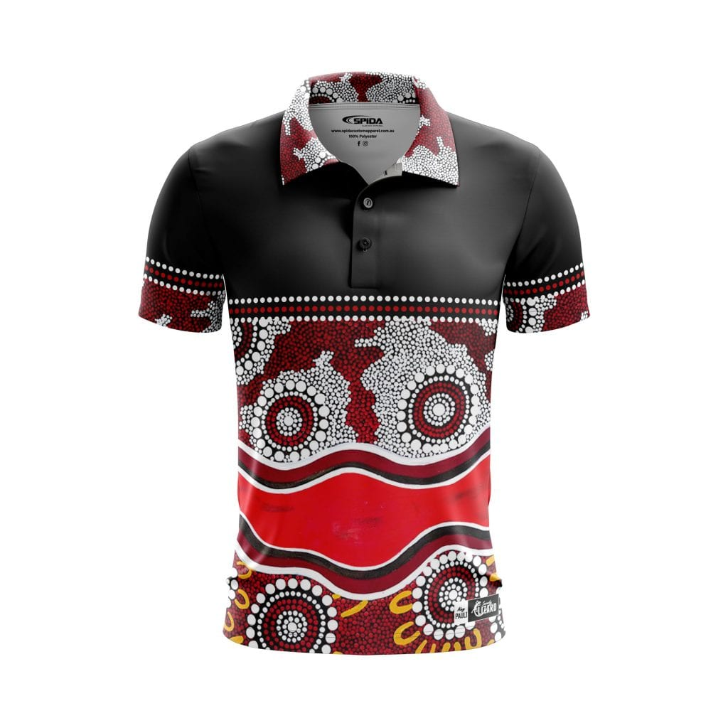 Helping-Others-Aboriginal-Polo-Shirts-Front-3D-Sandy-Lizard