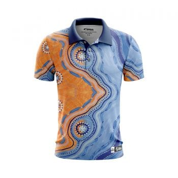 Bush-to-Beach-Aboriginal-Polo-Shirts-Front-3D-Sandy-Lizard
