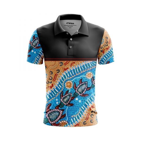 Turtles-Aboriginal-Polo-Shirts-Front-3D-Sandy-Lizard-2020